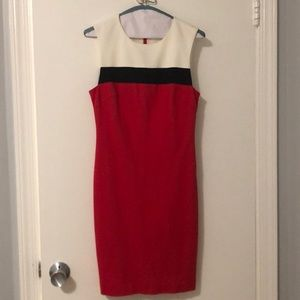 Trina Turk white red and black shift dress